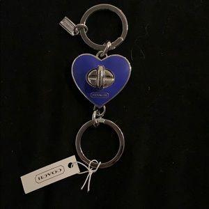 Coach enamel blue heart valet keychain